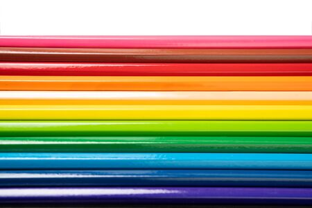 Beautiful blunt colour pencils are arranged together ready to use, it's on the white background.