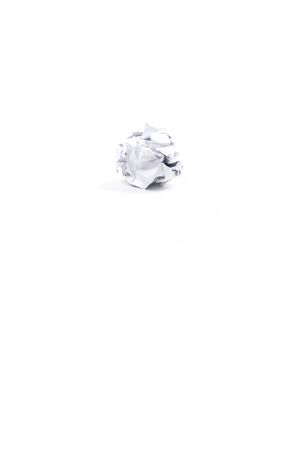 Crumpled white a4 paper was shot in studio light on white background. This means no idea or fail plan concept. Clipping path.