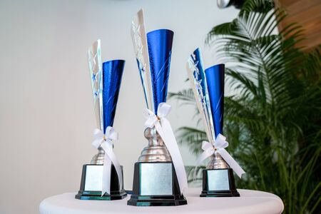 Three Trophies on circle white table with tree leaf background in Seminar hall.
