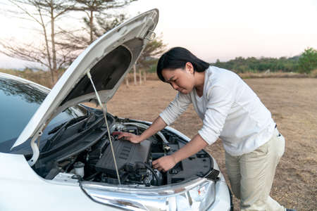 Asian man is stressed with the broblem car and try to fix it by himself in the large field forest behind. 免版税图像