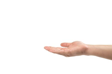 Asian man hand is handing up to receive somthing on white background. Clipping path
