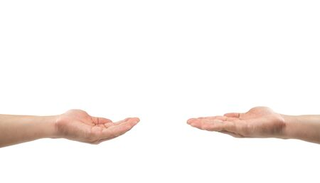 Two Asian men open hand together to share somethings empty on their hands on white background. Clipping path