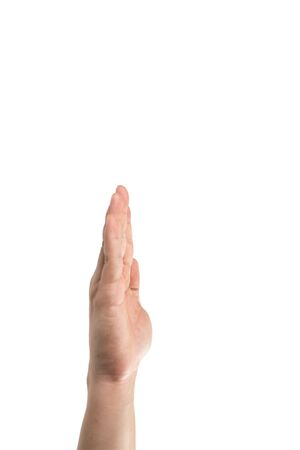 Asian man hand is raising his straight palm hand up for voting and agreement the openion. Clipping path Stockfoto