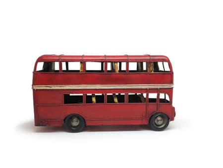 Isolated red bus double deckers toys vintage style, is on white background.  .