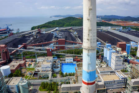 The Power plant industry / factory in Korea from the drone shot.