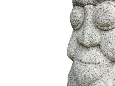Close up Isolated Asia rock statue Face on the white background. Clipping Paths