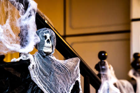 The Skull / Skeleton model is decorated in halloween party.
