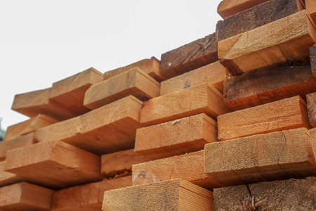 Wood plate are arranged at outdoor field in wood factory area and ready to the next process.