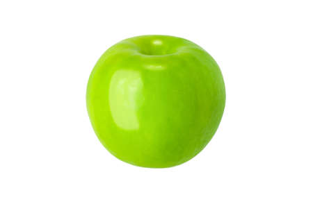 fresh green apple on clear solid and white background in studio light.