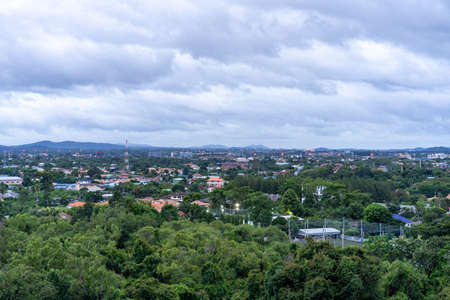 Thailand Pattaya city (Chonburi Province) landscape from drone view in the open sky with the cloudy environment