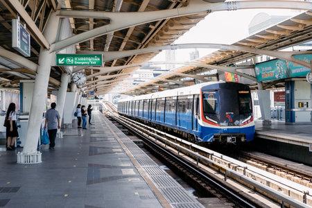 Bangkok, Thailand - 30 Jul 2020, The Bangkok (Mass) Transit System train drives on the rail at the platform in midday, Bangkok, Thailand.