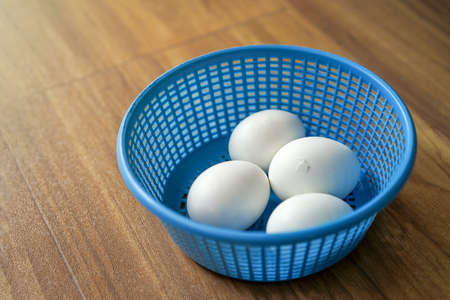 4 white chicken eggs in blue plastic basket on wood floor. 1 of 4 Chicken is ready to break out the egg shell from inside.