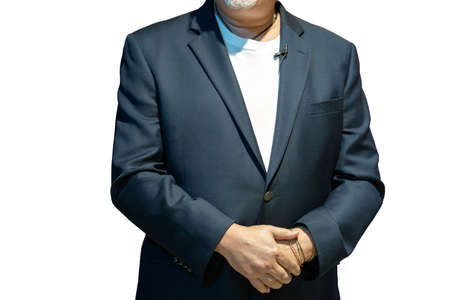 Close up to the body of smart caucasian big guy, a confident business man in front of white background.