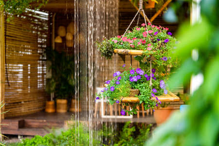 Hanging Flower Decoration and Curtain waterfall in the beautiful garden