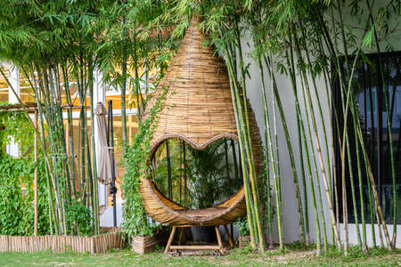 heart shape and cocoon mini pavilion relax zone in garden, It's Wicker Basketry by bamboo stick.