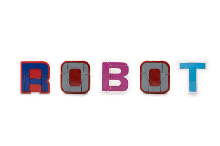 Capital Letters model figure in ROBOT spelling, stand on white background. 版權商用圖片
