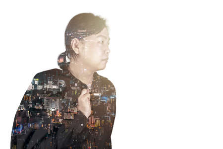 Asian Man in black suit in Multi Exposure Arial and capital building landscape effect. 版權商用圖片