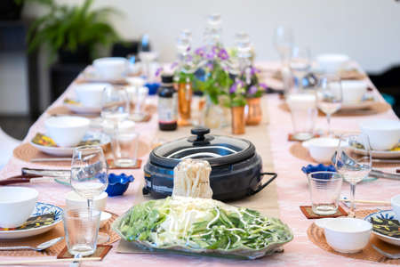 Sukiyaki Premium and Luxury Dinner Set for Celebration with special VIP guests. They have the raw material, beef, pork, chicken, egg, tofu, vegetable, shrimp, shell, squid.