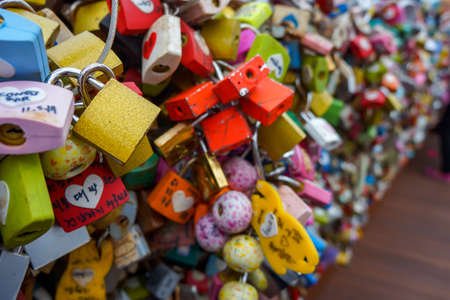 Seoul, South Korea - 1 June 2014, The Lock are hung together by the Lovers at N Seoul Tower in 1 June 2014, Seoul, South Korea.