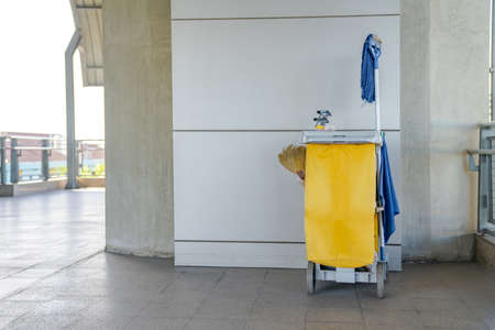 Professional Cleaning Trolley equipment is parked at the outdoor field and ready for everyday use.