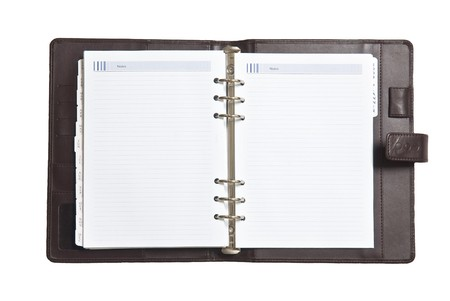 day planner: notebook on white background