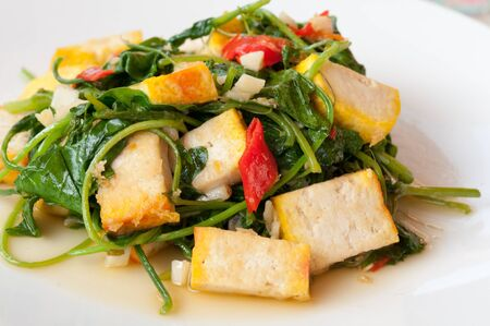 Stir - fried vegetables with tofu photo