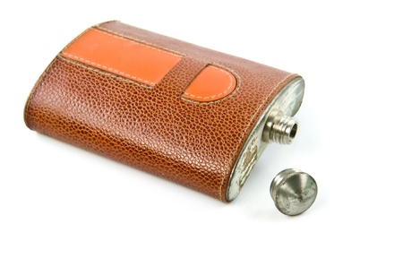 hip flask: old Hip flask on white background Stock Photo