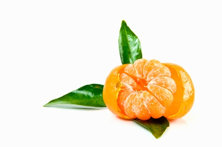 fresh tangerine on white background