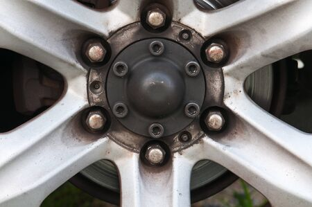 magneto: close up of an old car wheel