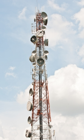 Steel telecommunication tower with antennas