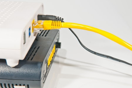 Router network hub with patch cable