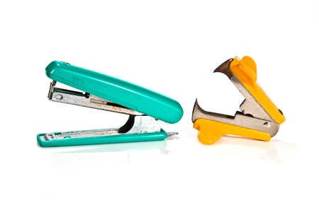 Kit of stapler, staple remover on white background
