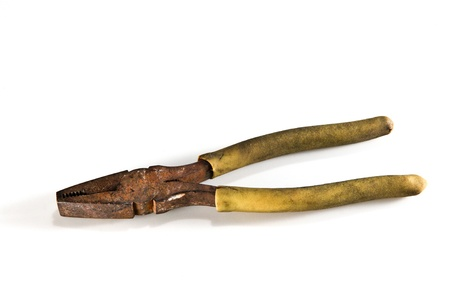 old Pliers  on white background Stock Photo
