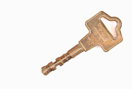 vecchia chiave su sfondo bianco Archivio Fotografico