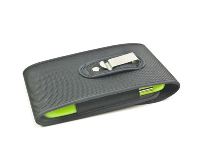 holster: Mobile in holster on white background