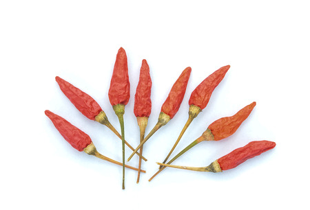 Dried red hot peppers  on white background