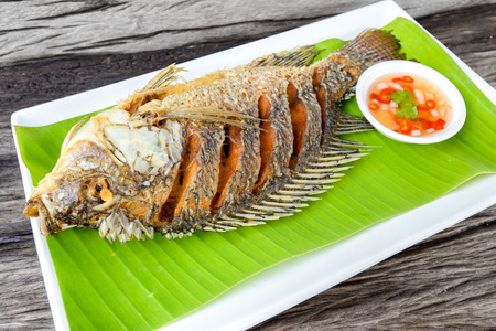 Fried  tilapia fish with spicy sauce