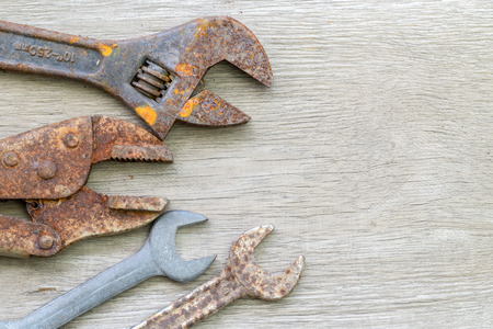old tools: old tools on wood background