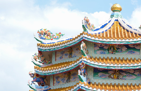 colorful china temple roof,thailand