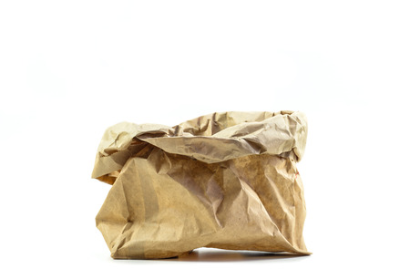 open brown bag on white background Stock Photo