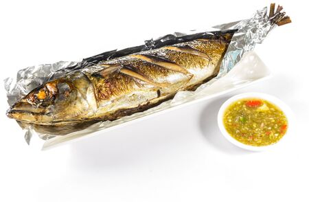 saba fish grilled on white background