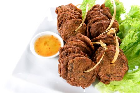 fried fish balls made from minced fish and herbs