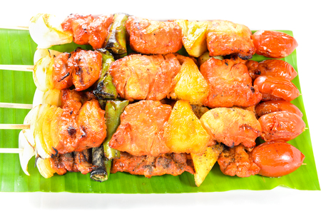 grilled barbecue pork and chicken on white background Stock Photo