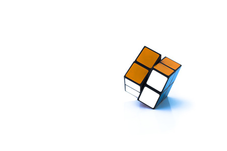 phra nakhon si ayutthaya: PHRA NAKHON SI AYUTTHAYA THAILAND JUNE 30.Rubiks Cube invented by a Hungarian architect Erno Rubik in 1974.Rubiks cube on a white background. In Phra Nakhon Si Ayutthaya Thailand on 30 June 2015.