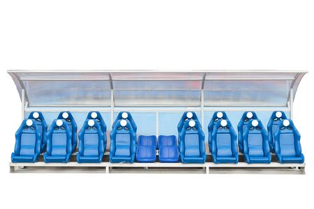 soccer coach: Reserve chair and staff coach bench in sport stadium isolate on a white background. This has clipping path.