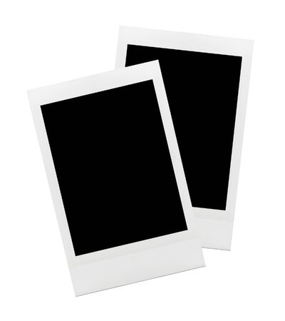 two objects: Retro photo frame polaroid isolated on white background Two Objects