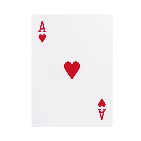 Ace of hearts playing card, isolated on white background Фото со стока