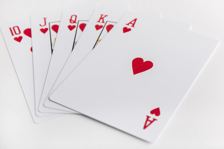 card: Flush royal cards isolated on white background