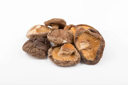 shitake: dry shitake mushroom pile on white background