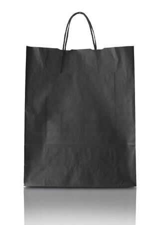 blak and white: Blank blak paper bag isolated on white background